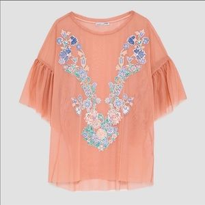 Zara Pink Embroidered Ruffle Sleeve Top